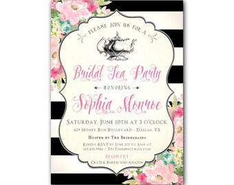 Black and White Bridal Shower Invitation, Bridal Tea Party Invitations, Bridal Shower Tea Invitations, Bridal Shower Tea Party Invitation