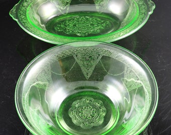 Set of 2, Georgian aka Lovebirds, Green Bowls, One each Oval and Round