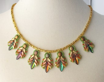 Camille Woven Feathers Necklace with adjustable length lobster claw clasp