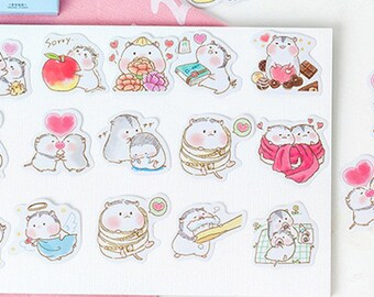 Hamster Sticker - Kawaii Stickers - Die Cut Stickers - Cute Sticker - Planner Stickers, Set of 45