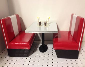 """1:6 Scale Retro Classic Diner Booth Set - Red/White, 10.5""""-12"""" doll furniture"""