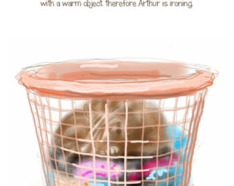 """Funny Cat greetings card: """"Arthur has been doing the Ironing"""" - cat sleeping in a washing basket, cat logic, mad cat lady. by Nancy Farmer."""