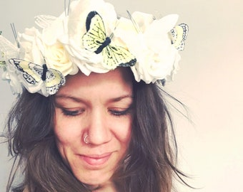 Statement floral festival headdress, floral headdress, festival headdress, floral boho crown, boho headpiece, floral headpiece, bridal wear