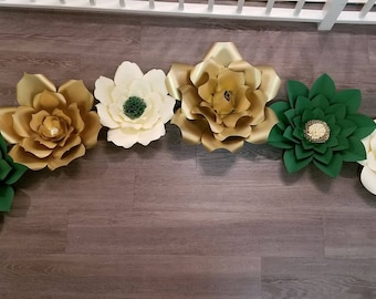Gold, Ivory, & Emerald Green Paper Flower Set - 003