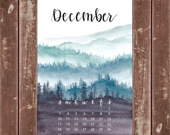 Forest Rolling Hills Mini Calendar Print for Planner or Decor