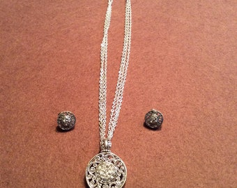 Filigree and rhinestone necklace and matching earrings