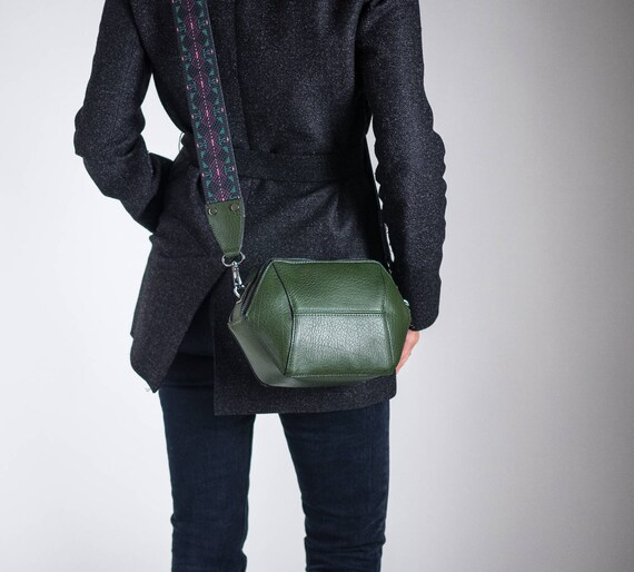 Green Womens Crossbody Bag, Vegan Leather Bag, Geometric Shoulder Bag, Minimalist Bag, Structured Bag, Small Crossbody Bag, Gifts for her