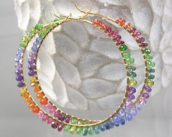Rainbow Hoops, Colorful Chakra 14k Gold Filled Hoop Earrings, Large Sized, Multi Gemstone Hoops, Mod Bohemian, Artisan Designed