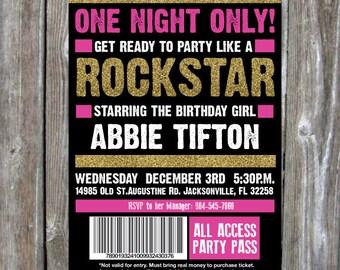 Girls Birthday Party Invite - ROCKSTAR-  Digital Download