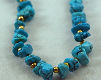 1970's Vintage Signed Carol Dauplaise Natural Turquoise Necklace