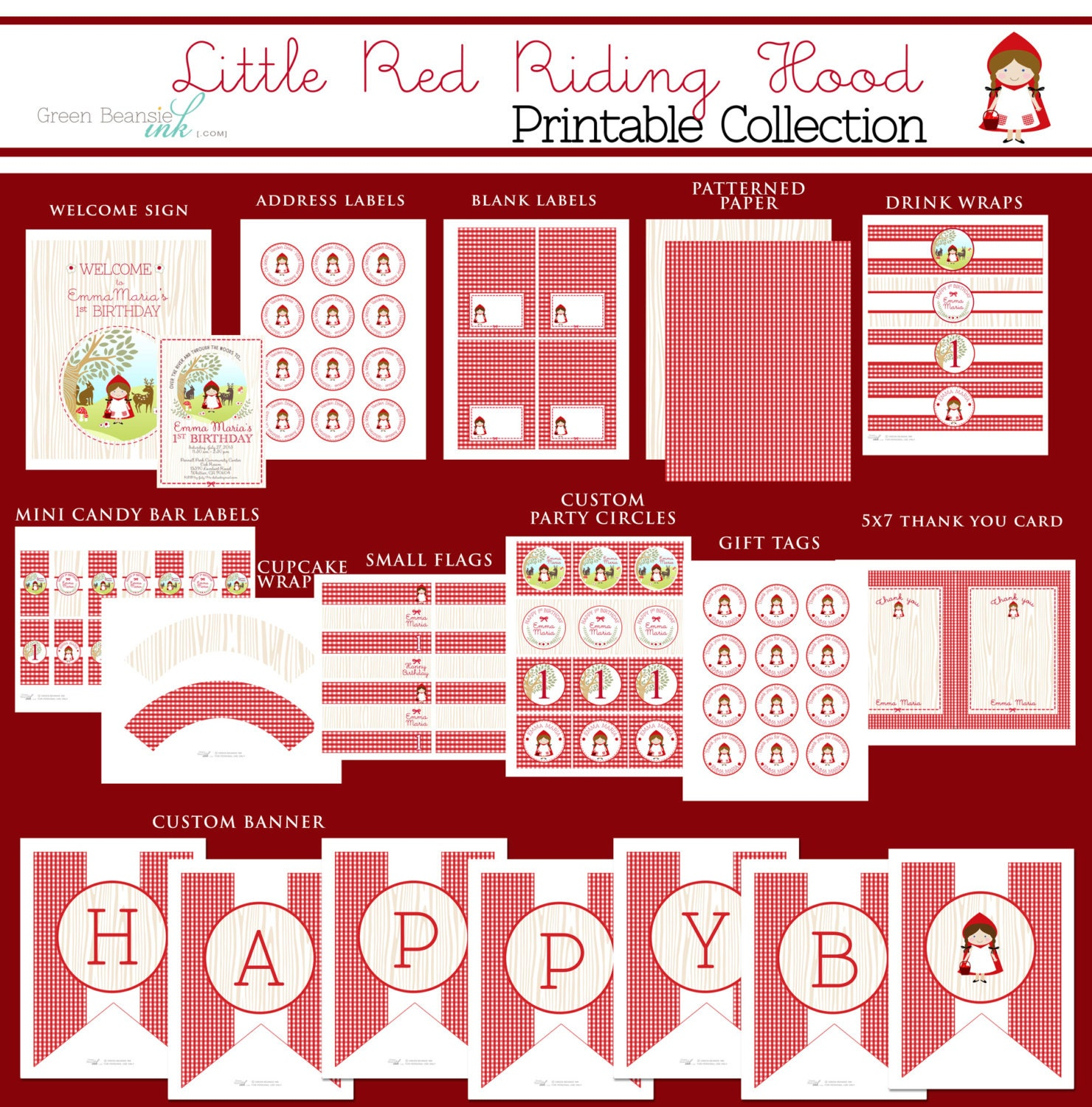 Little Red Riding Hood Birthday Printable Party Invitation and