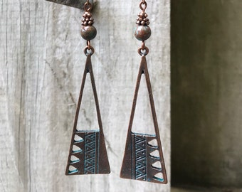 Copper Earrings, Boho Jewelry, Bohemian Jewelry, Boho Earrings, Bohemian Earrings, Rustic Earrings, Turquoise Earrings, Ethnic Earrings