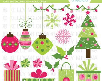 Christmas Decorations - Pink and Green Clip Art Set - Digital Elements Commercial use for Cards, Stationery and Paper Crafts and Products