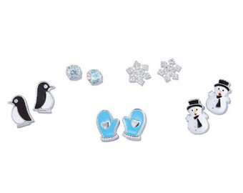 Winter Snowflake 5 Pair Earring Set