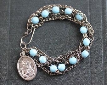 Rosary Bracelet - Aqua Glass and Brass Rosary Beads Catholic Charm  Saint Francis Metal