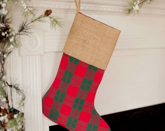 Plaid Christmas Stocking, Personalized Christmas Stockings, Monogrammed Christmas Stockings, Embroidered Christmas Stockings