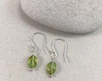 Silver and Peridot Earrings, Silver Dangle Earrings, Handmade Gemstone Earrings, Crystal Earrings, Peridot Earrings, August Birthstone