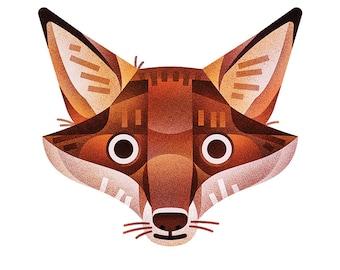 Fox Print - 8x10 geometrical modern fox print