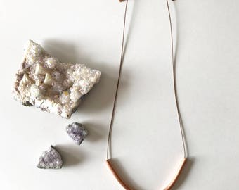 copper necklace, geometric necklace, u-shape necklace, copper jewelry, gifts under 25, modern necklace, adjustable jewelry, u-shape pendant