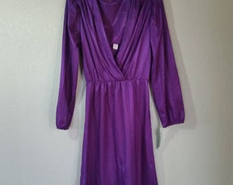 1970s Long Sleeved Purple Dress,Polyester Day Dress,  Size Medium,  #35729