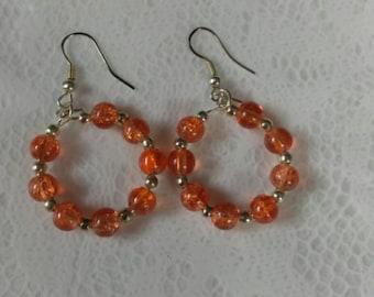 Orange 4MM Bead Hoop Earrings