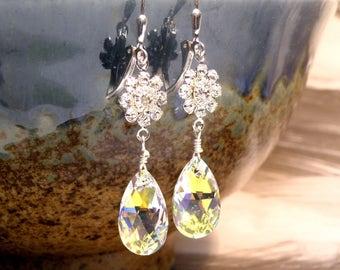 Clear Crystal Teardrop Earrings, Swarovski Crystal Rhinestone Flower,  Sterling Silver, Bridesmaid Gift, Bridal Wedding Jewelry Handmade