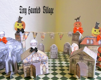 Halloween Ghost town  Haunted  village set party props haunted house  collage sheets tiny haunted houses and and accessories