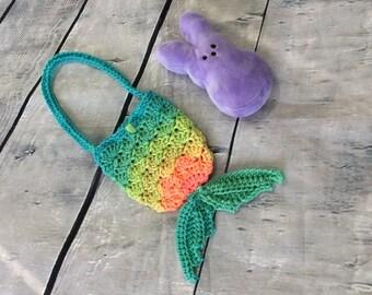 Mermaid tail Purse - Crochet Mermaid Tail bag- mermaid tail bag - Crochet Child Purse  - crochet bag - ready to ship