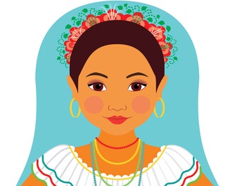 Nicaraguan Wall Art Print with culturally traditional dress drawn in a Russian matryoshka nesting doll shape