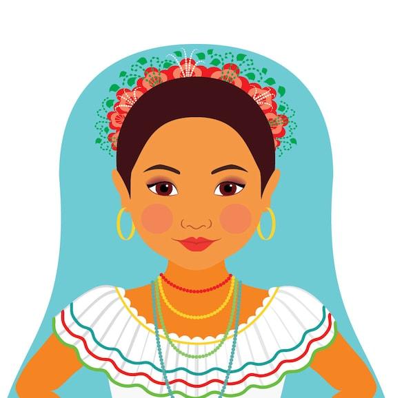 Nicaraguan Doll Art Print with traditional folk dress, matryoshka