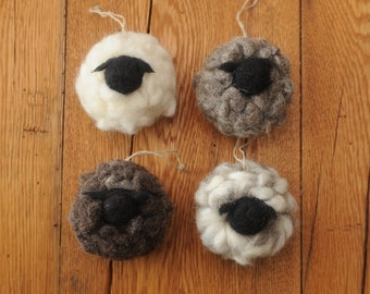 Felted Wool Sheep Ornaments, Available in two Sizes