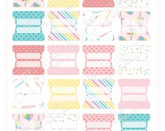 SMALL SIZE Retro Birthday Party Planner File TABS - Digital File Instant Download-rainbow, confetti, balloons, stripes, polka dots, labels
