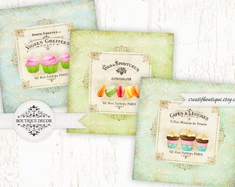 Marceilles Coasters. Digital Collage Sheet. Set of 3 big images. For decoupage, scrapbooking or packaging.