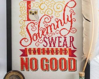 Solemnly Swear Cross Stitch Pattern - I Solemnly Swear I am up to No Good - Harry Potter - Digital PDF Pattern