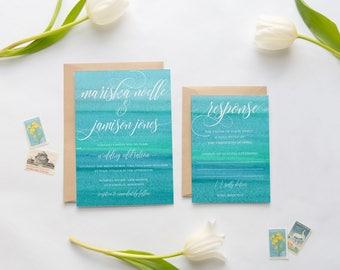 Wedding Invitation Suite, Beach Wedding Invitations, Ombre Wedding Invitation, Watercolor, Blue, Teal, Ocean, Beach