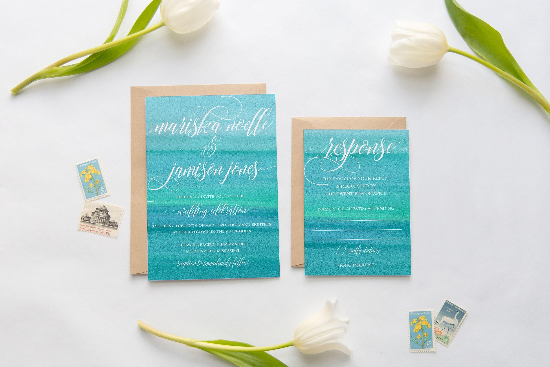 Ombre Wedding Invitation: Wedding Invitation Suite Beach Wedding Invitations Ombre