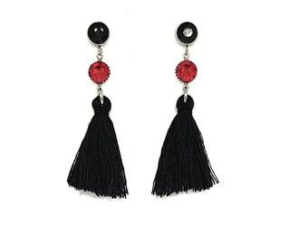 Tassel jewelry unique gifts and dangling Swarovski Stud Earrings