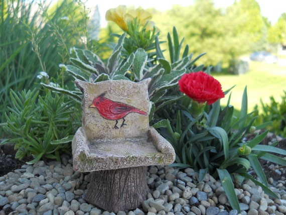 "Red Cardinal 3"" Chair for the Fairy Garden"