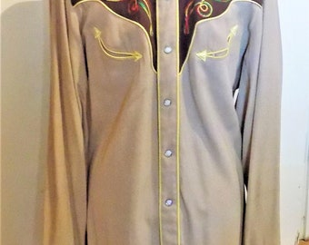 H Bar C, California Ranchwear, Western Style Shirt, Men's Medium, Cowboy Boot Appliques