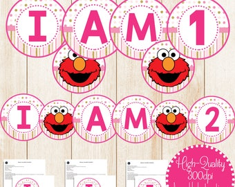 Girl Elmo Birthday Banner, Elmo High Chair Banner, Elmo I Am 1 Banner, Elmo I am 2 Banner, Girl Elmo High Chair, Girl Elmo Party Decorations