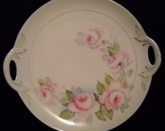 Rose pattern cake plate with handles