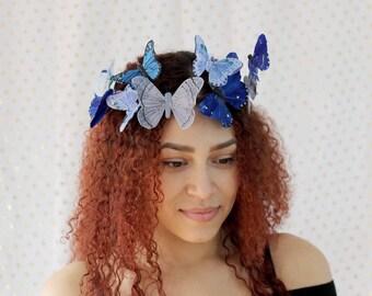 Cobalt Blue Butterfly Crown - princess, bride, something blue, it's a boy