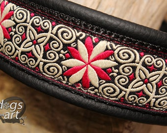"""Dog Collar """"Zinnia"""" by dogs-art for Boy/Girl Dog. Can be made into a Buckle or Martingale Collar, leather dog collar, dog collar, zinnia"""
