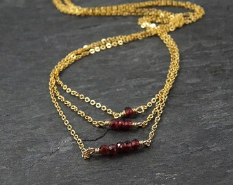 Garnet Necklace Gold Layered Necklace • New Mom Gift • Boho Chic Jewelry • Minimalist • Mom Gift • Best Selling Items • January Birthstone