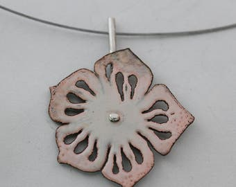 Pale Peach Enamel Flower Pendant