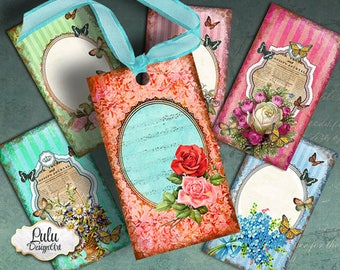 ROMANTIC TAGS - Instant Download - Digital Collage Sheet - Printable Tags - Aceo - Atc - Vintage Tags - Vintage Cards - Digital Tags