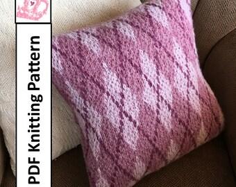 """PDF KNITTING PATTERN, knit pillow cover pattern, Argyle knitting pattern, 16""""x16"""", cushion cover knitting pattern"""