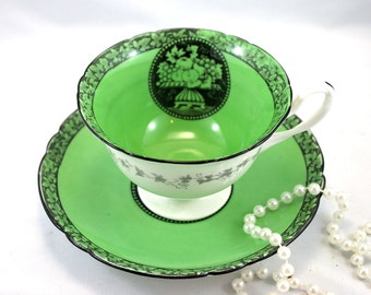 Very Unique, Shelley Footed Teacup & Saucer, Fruit Green Cameo Pattern, Fine English China made in 1960s