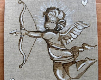 Painting Angel in the bow on 3D linen