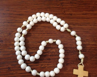 Small White Wooden Rosary